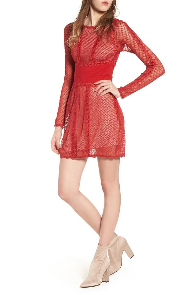 bec1a76bed1b Free People Cherry Red Mixed Mesh Bodycon Short Night Out Dress Size ...