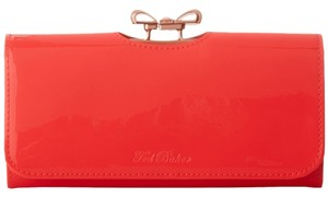 Ted Baker NEW!!! Tags Ted Baker Hot Pink Summer Crystal Bow Patent Leather Wallet Bag NWT
