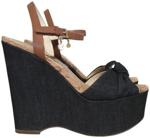 MICHAEL Michael Kors Knot Detail Mk Charm Dark Denim Wedges