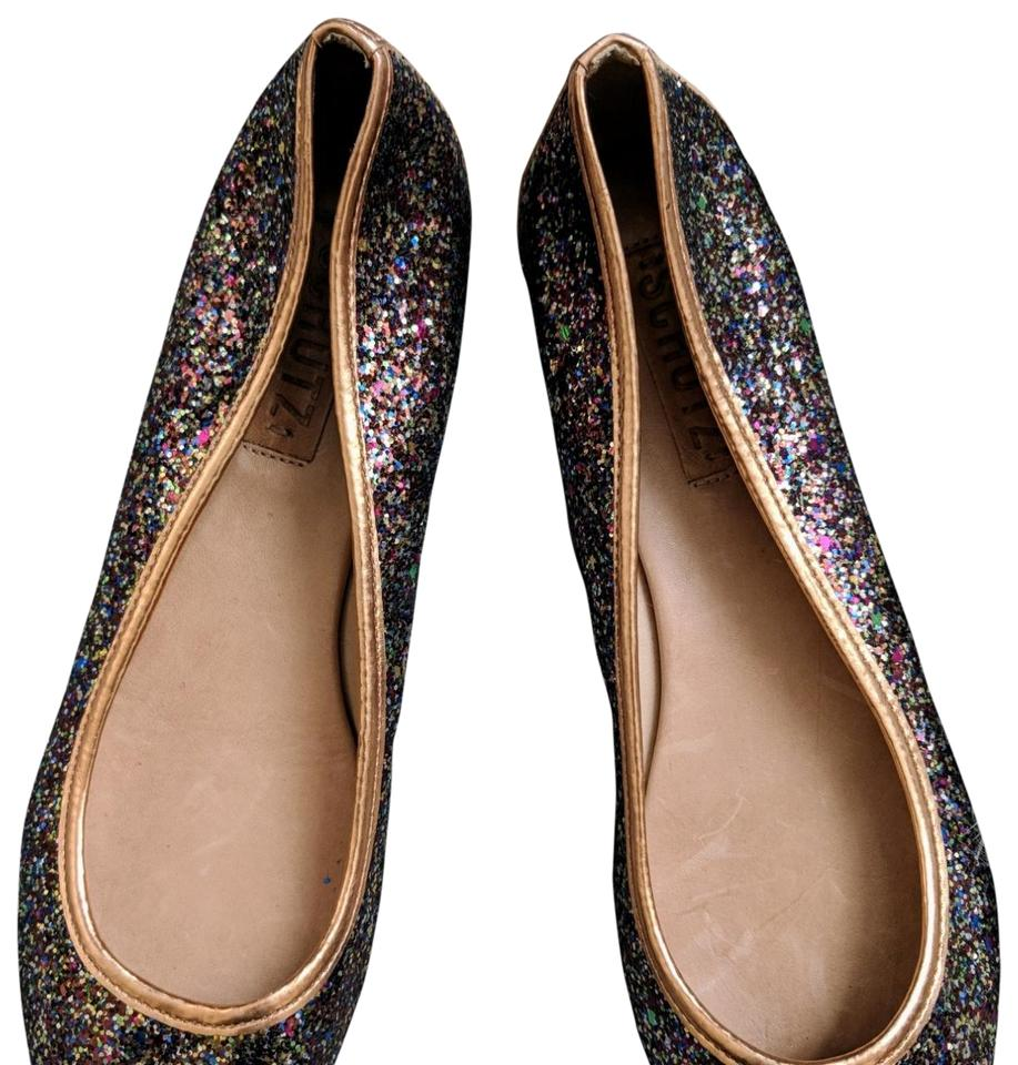 6cbbe9b4ef5b SCHUTZ Rose Gold Copper and Multi Colored Glitter Ballet Flats Size ...