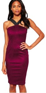 AX Paris Suede Midi Pencil Bodycon Purple Dress