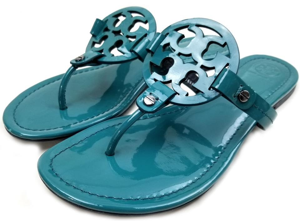 7c032455e Tory Burch Flip Flops Bold Logo Cutout Patent Leather Electric Eel (Teal  blue) Sandals. 12345678. 1 ∕ 8