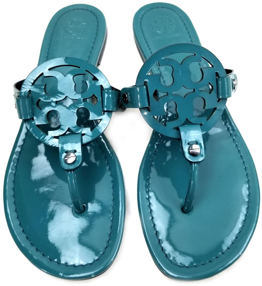 db63e4a6f042 Tory Burch Flip Flops Bold Logo Cutout Patent Leather Electric Eel (Teal  blue) Sandals. 12345678