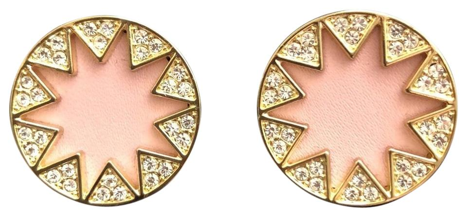 House Of Harlow 1960 Yellow Gold Pink Sunburst Leather Pave Crystals Earrings