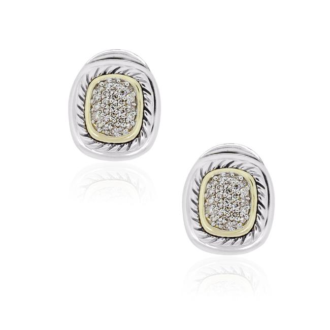 Item - Yellow White Two Tone 1ctw Diamond Cluster Earrings
