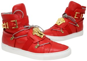811609393fb Versace Valentino Chanel Louis Vuitton Louboutin Studded Red Athletic ·  Versace. Red Medusa Head Calfskin Leather High Top Gold Detail Sneakers