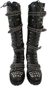 Vibram Studded Motorcycle Leather Black Boots