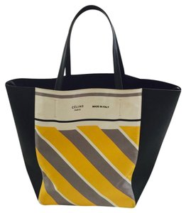 Céline Tote in Black Leather with Yellow Grey Ivory stripes