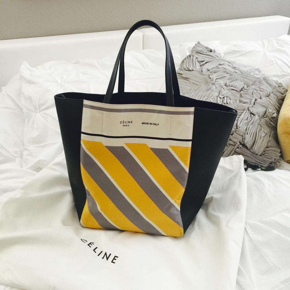 fake celine luggage - C��line Phantom Black Leather With Yellow Grey Ivory Stripes Tote ...