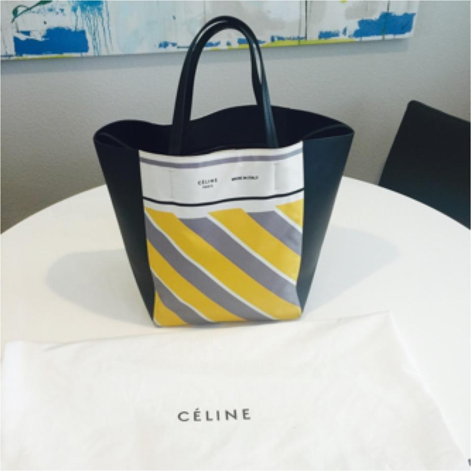celine nano bag - C��line Phantom Black Leather With Yellow Grey Ivory Stripes Tote ...