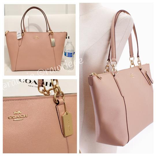 Coach Zip Top Leather Shimmer Neutral Tote in Glitter Nude Pink Image 2