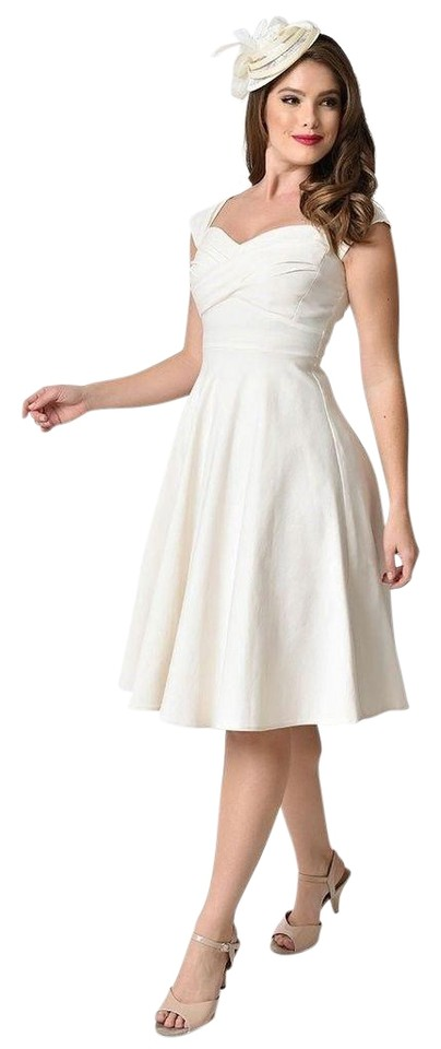 c7de2e13045 Ivory Unique Vintage Mad Men Swing Style Alicia Estrada Cocktail Dress