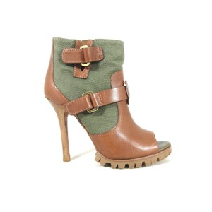 Tory Burch Peep Toe Canvas Leather green and brown Pumps