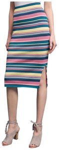 Anthropologie Striped Skirt Pink, Green, Blue, Yellow, White