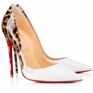 Christian Louboutin So Kate Classic White Patent Leather Leopard Pumps