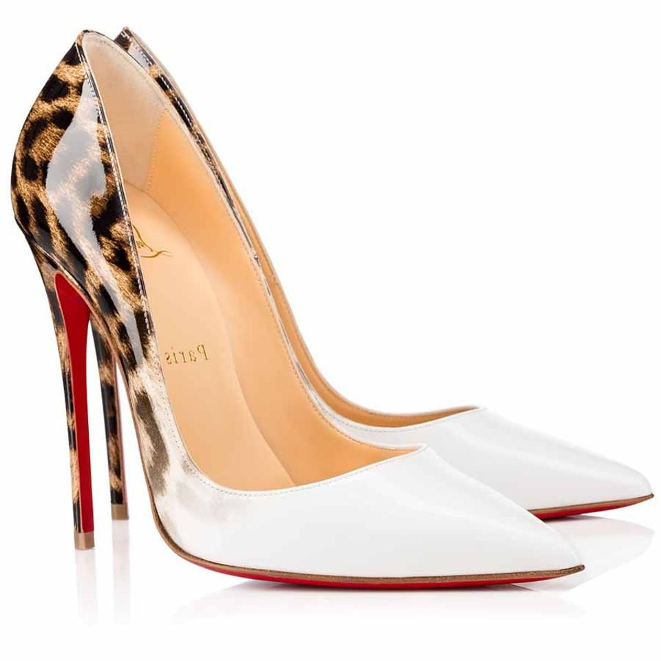 887b4f1f946a Christian Louboutin So Kate Classic White Patent Leather Leopard Pumps  Image 0 ...