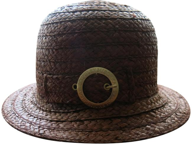 Item - Burgundy Gold Buckle Straw Summer Hat