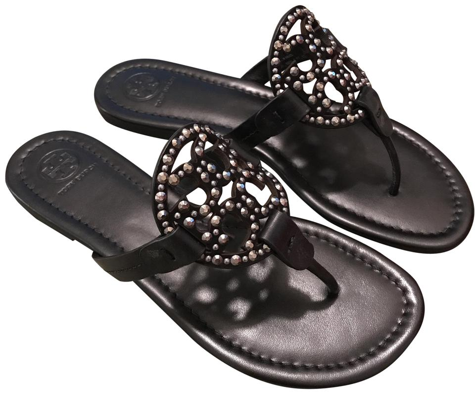 6494e33b97c8 Tory Burch Black Miller Embellished Sandals Size US 7.5 Regular (M ...