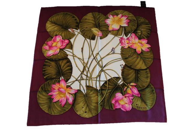 Item - Wine / Magenta / Green / Pearl White Silk Lotus Print Made In Italy Scarf/Wrap