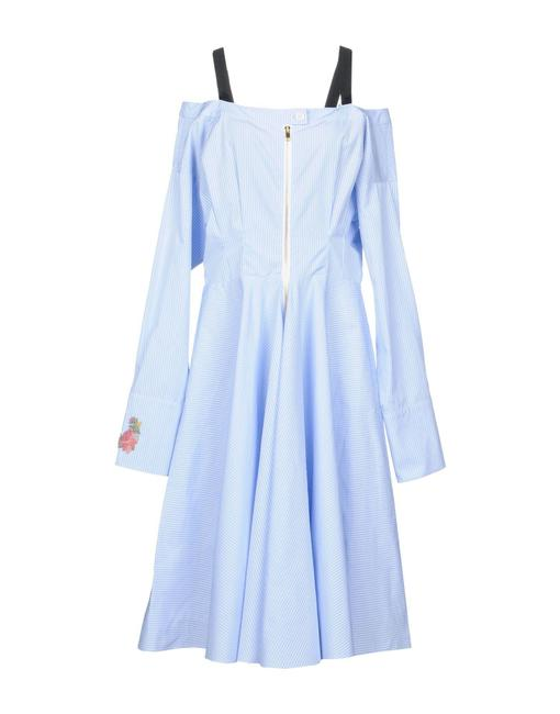 Item - Blue White Multiple 40 London Striped Off Shoulder Mid-length Night Out Dress Size 8 (M)