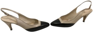Bruno Magli Cap Lining Soles Made Italy Vintage cream and black all leather Italian very narrow (4A) slingback Pumps