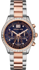 Michael Kors Clearance-SALE RoseGold/Silver Chronograph Brinkley Watch
