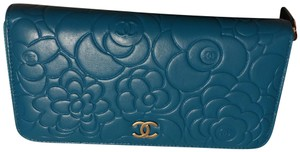 Chanel Camellia long Wallet In Turquoise