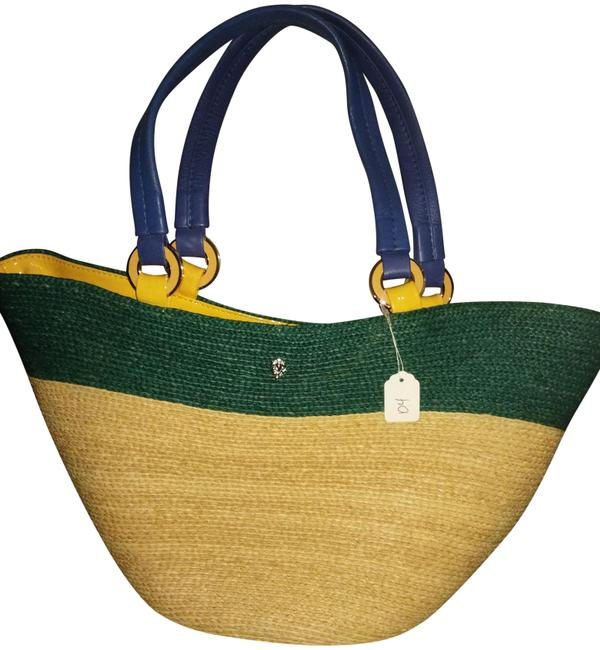 Item - Bucket And Wicker Large Colorful Natural Green Blue Yellow Raffia Leather Tote