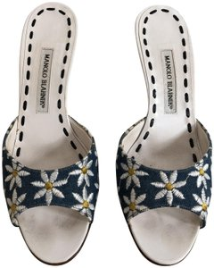 Manolo Blahnik Floral Navy, White Mules