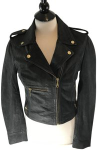 Members Only Zippered Asymmetrical Leather Motorcycle Jacket