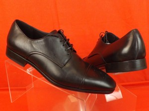 Salvatore Ferragamo Black Men's Cairo Leather Brogue Logo Lace Up Derby Oxford 10.5 E 43.5 Shoes