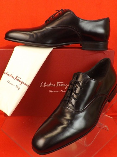 Salvatore Ferragamo Black Men's Dunn Polished Leather Lace Up Oxfords 10.5 D 43.5 Italy Shoes Image 1