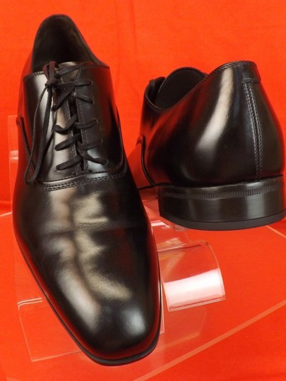 Salvatore Ferragamo Black Men's Dunn Polished Leather Lace Up Oxfords 10.5 D 43.5 Italy Shoes Image 2