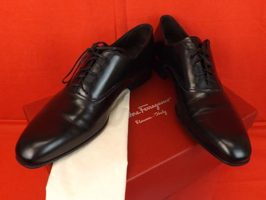 Salvatore Ferragamo Black Men's Dunn Polished Leather Lace Up Oxfords 10.5 D 43.5 Italy Shoes Image 6