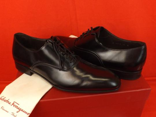 Salvatore Ferragamo Black Men's Dunn Polished Leather Lace Up Oxfords 10.5 D 43.5 Italy Shoes Image 8