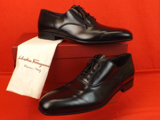 Salvatore Ferragamo Black Men's Dunn Polished Leather Lace Up Oxfords 10.5 D 43.5 Italy Shoes Image 9