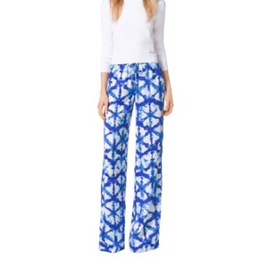 Michael Kors Wide Leg Pants blue and white tie dye