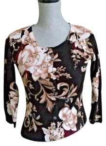 White House | Black Market Floral Buttons Flowers Snaps Cardigan