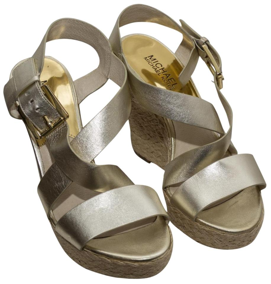 243e177f0c83 Michael Kors Gold Giovanna Leather Espadrille Sandal Wedges Size US ...