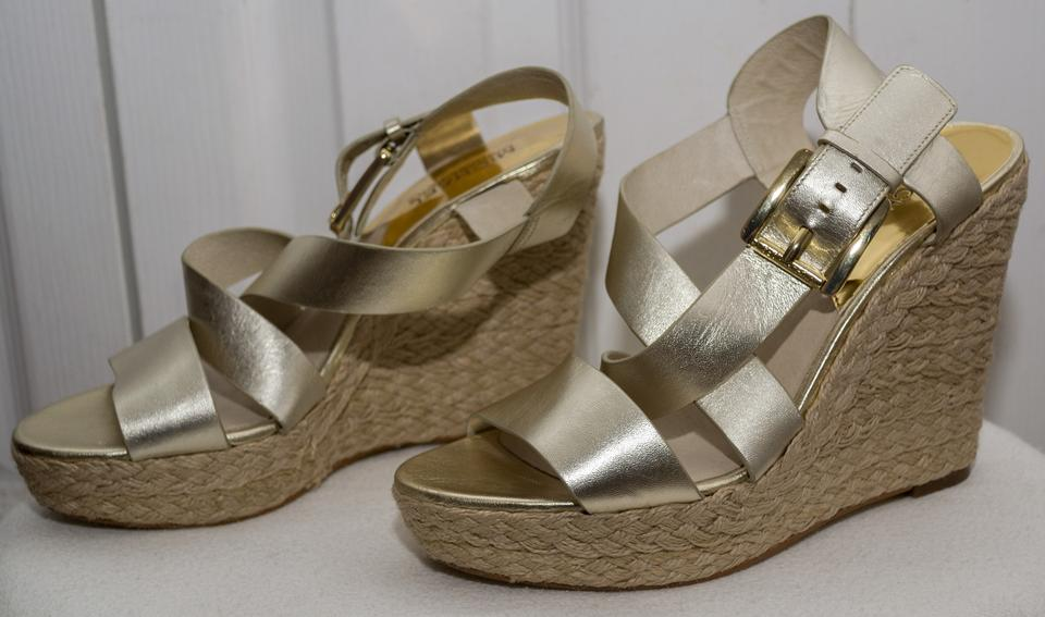39785f0a64a Michael Kors Gold Giovanna Leather Espadrille Sandal Wedges Size US 7  Regular (M, B) 56% off retail