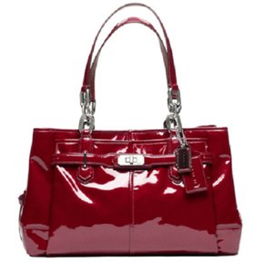 Coach Patent Leather Shoulder Satchel in Red Wine/Silver
