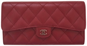 Chanel 17B Red Caviar SHW Quilted Large Flap Wallet