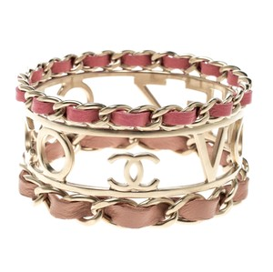 Chanel Chanel Coco Votez Pink and Peach Leather Gold Tone Cuff Bracelet