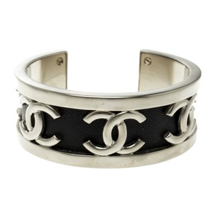 Chanel Chanel CC Black Leather Silver Tone Open Cuff Bracelet