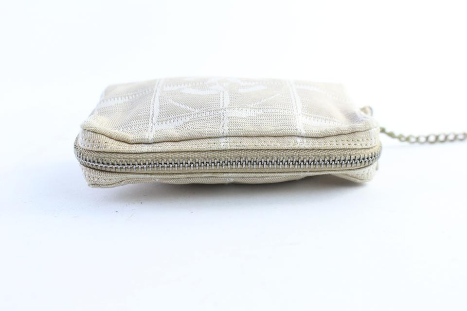 8854b3e431af Chanel New Line Zip Pouch 41cr0702 Beige Canvas Wristlet - Tradesy