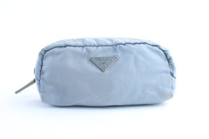 Prada Pouch Trousse Make Up Clutch Cosmetic Wristlet in Blue