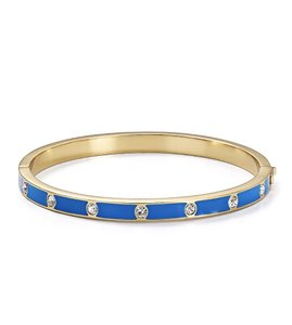 Kate Spade NWT KATE SPADE SET IN STONE ENAMEL HINGED BANGLE BRACELET W BAG BLUE
