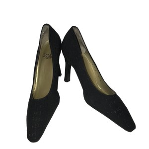 Charles Jourdan Textured Vintage Embellished Black Pumps