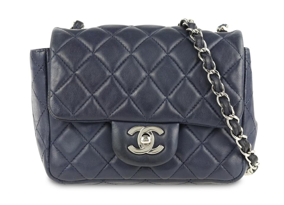 563db6f9ced9 Chanel Mini Square Classic Single Flap Navy Blue Lambskin Leather Shoulder  Bag