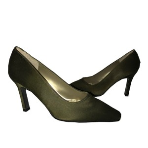Charles Jourdan Vintage Silk Olive Green Pumps